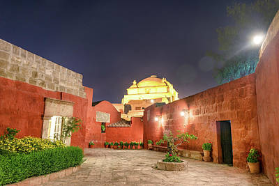 Santa Catalina Monastery Courtyard At Night Poster