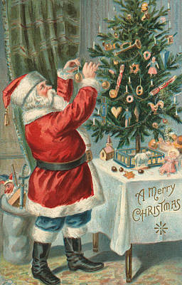 Santa Claus Decorating A Christmas Tree Poster by American School