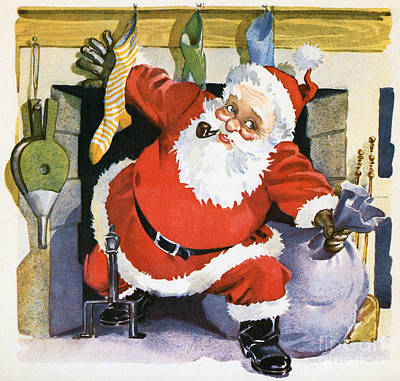 Santa Claus Emerging From The Fireplace On Christmas Eve Poster by American School