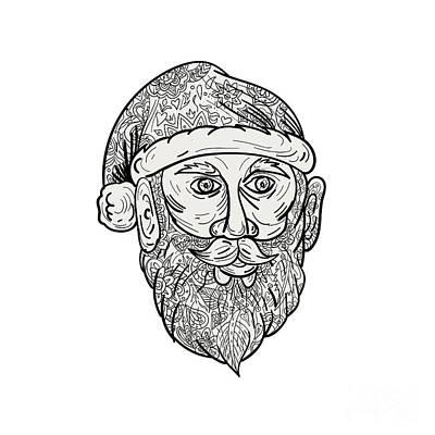 Santa Claus Head Mandala Poster by Aloysius Patrimonio