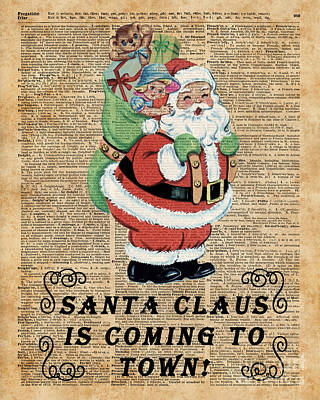 Santa Claus Is Coming To Town Vintage Christmas Decoration  Poster