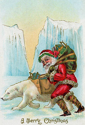 Santa Claus With A Polar Bear At The North Pole Poster by American School