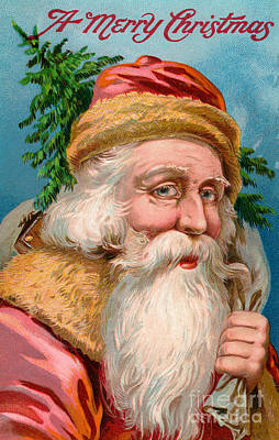 Santa Claus With Christmas Tree Poster by American School