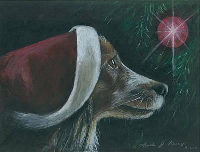 Santa Dog Poster by Linda Nielsen