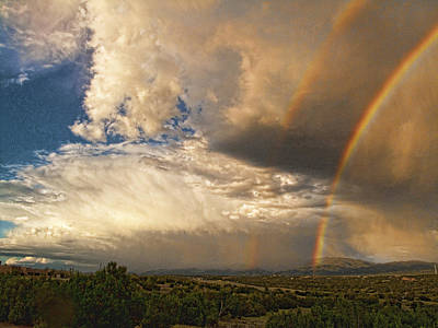 Poster featuring the photograph Santa Fe Summer Sky With Double Rainbow by Paul Cutright