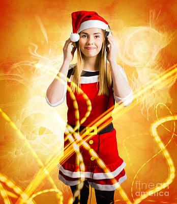 Santa Girl Listening To Abstract Christmas Music Poster