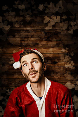 Santa Helper On Christmas Copyspace Background Poster