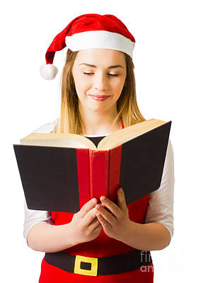 Santa Helper Reading Christmas Story Book Poster
