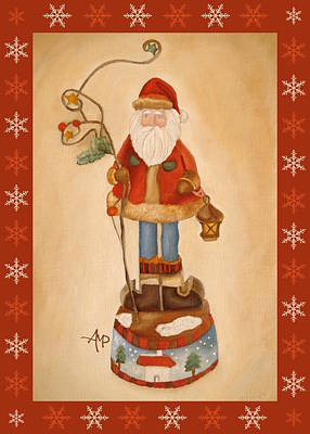 Santa Is Coming With Snowflakes Poster