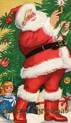 Santa Lighting Candles On A Christmas Tree Poster by American School