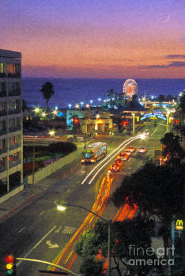 Poster featuring the photograph Santa Monica Ca Pacific Park Pier  Sunset by David Zanzinger