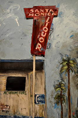 Poster featuring the painting Santa Monica Liquor by Lindsay Frost
