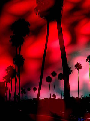 Santa Monica Palms Fiery Red Sunrise Silhouette Poster by Abstract Angel Artist Stephen K