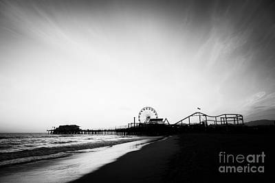 Santa Monica Pier Black And White Photo Poster by Paul Velgos