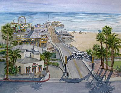 Santa Monica Pier Poster by Bonnie Sue Schwartz