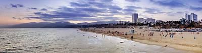 Santa Monica Sunset Panorama Poster by Ricky Barnard