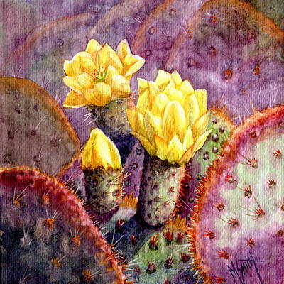 Poster featuring the painting Santa Rita Prickly Pear Cactus by Marilyn Smith