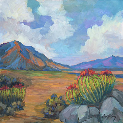 Santa Rosa Mountains And Barrel Cactus Poster by Diane McClary