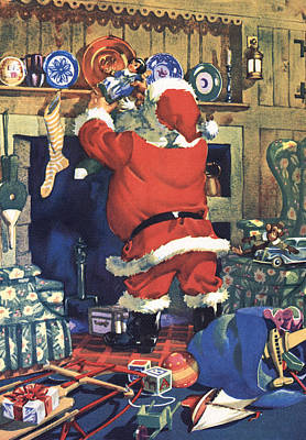 Santa Stuffing Stockings With Toys On Christmas Eve Poster