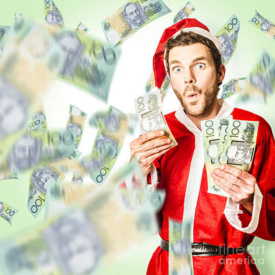 Santa With Australian Money At Christmas Sales Poster
