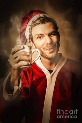 Santas Helper Drinking Hot Christmas Coffee Poster by Jorgo Photography - Wall Art Gallery