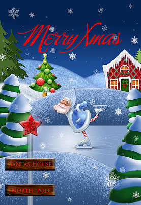 Santa's House - North Pole English Text  Poster
