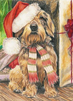 Poster featuring the drawing Santas Little Yelper by Barbara Keith