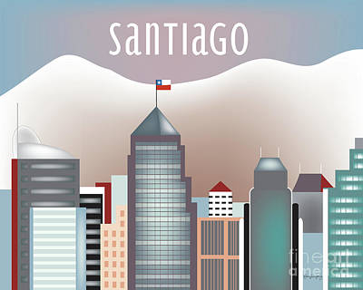 Santiago Chile Horizontal Skyline Poster by Karen Young