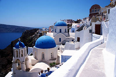Santorini Churches Poster