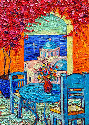 Santorini Dream Greece Contemporary Impressionist Palette Knife Oil Painting By Ana Maria Edulescu Poster
