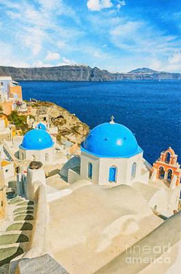 Santorini Oia Church Caldera View Digital Painting Poster by Antony McAulay