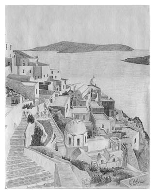 Santorini Sketch Poster