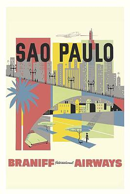 Sao Paulo Brazil Vintage Travel Poster Poster by Retro Graphics