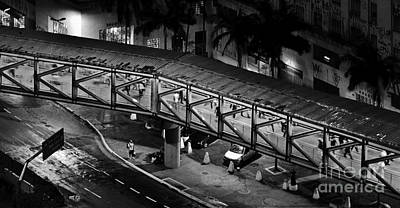 Sao Paulo - Metallic Footbridge At Night Poster by Carlos Alkmin