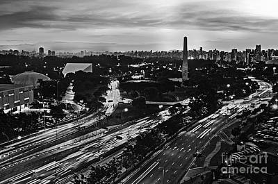 Sao Paulo Skyline - Ibirapuera And Obelisk - Black And White Poster