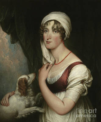Sarah Trumbull With A Spaniel Poster by John Trumbull