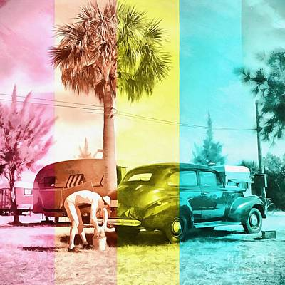 Sarasota Series Wash The Car Poster by Edward Fielding