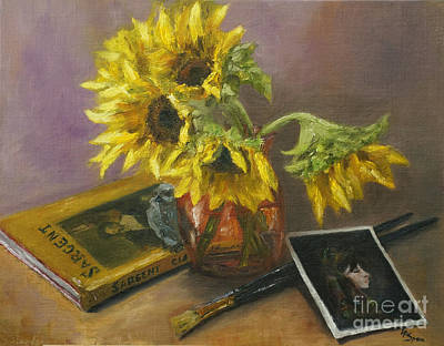 Sargent And Sunflowers Poster by Lisa  Spencer