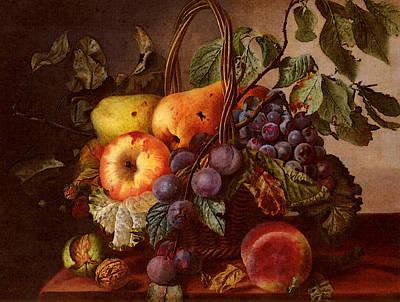 Sartorius Virginie De A Still Life With A Basket Of Fruit Poster