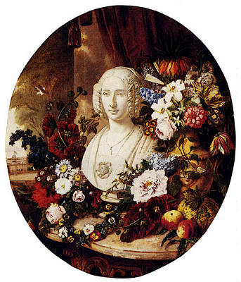 Sartorius Virginie De A Still Life With Assorted Flowers Fruit And A Marble Bust Of A Woman Poster