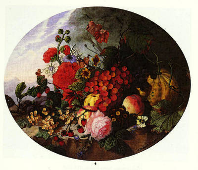 Sartorius Virginie De Still Life With Fruit And Flowers On A Rocky Ledge Poster