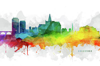 Saskatoon Skyline Mmr-casksa05 Poster by Aged Pixel