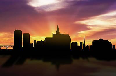 Saskatoon Skyline Sunset Casksa22 Poster by Aged Pixel