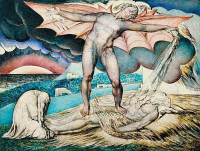 Satan Smiting Job With Sore Boils Poster by William Blake