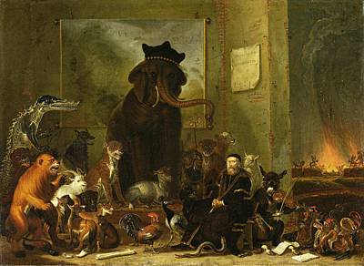 Satire On The Trial Of Johan Van Oldenbarneveldt Poster by Cornelis Saftleven
