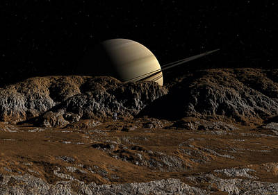 Saturn From Dione Poster