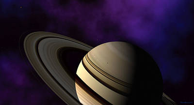 Poster featuring the digital art Saturn Rings Close-up by David Robinson