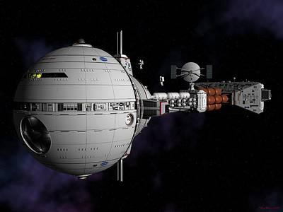 Saturn Spaceship Uss Cumberland Poster by David Robinson
