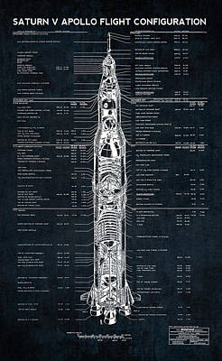 Saturn v posters fine art america saturn v apollo moon mission rocket blueprint 1967 poster malvernweather Images