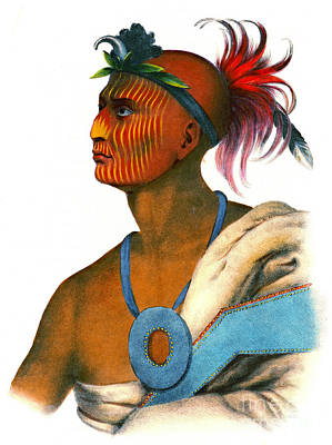 Poster featuring the photograph Sauk Warrior 1842 by Padre Art